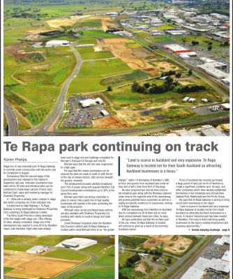 Te Rapa Park Continuing On Track